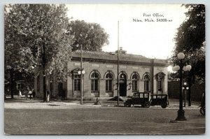 Niles Michigan~Post Office~Vintage Cars in Front~CR Childs~c1910 B&W Postcard