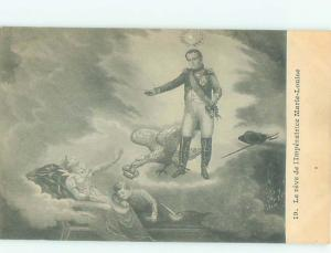 foreign Old Postcard NAPOLEON IN THE CLOUDS WHILE BIRD STEALS CROWN AC3623
