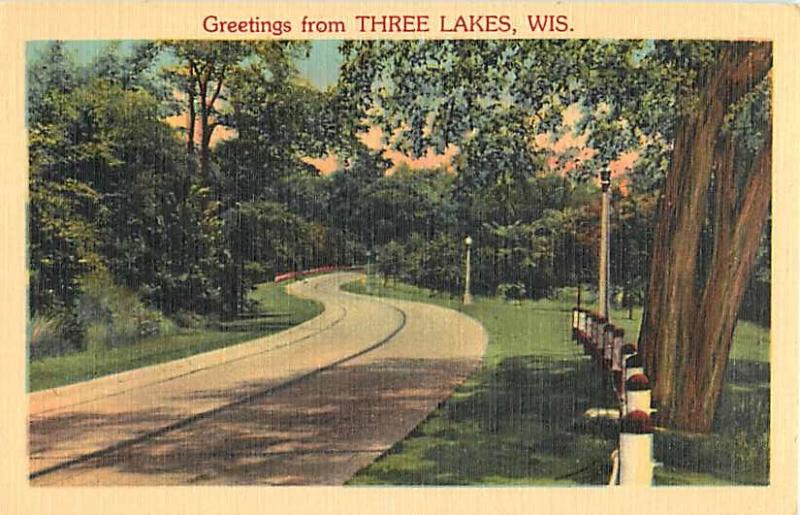 Linen Scenic Greetings from Three Lakes Wisconsin WI