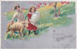 Boy walking alongside lamb, girl holding exagerated decorated egg, 10-20s