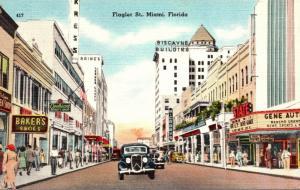 Florida Miami Scene On Flagler Street
