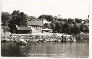 Rockport ME Yacht Club Boat RPPC Real Photo Postcard