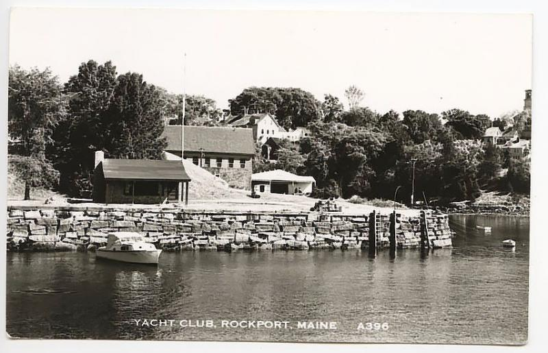 Rockport ME Yacht Club Boat RPPC Real Photo Postcard