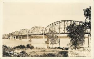 Pierre S D~Missouri River Auto Bridge~1926 Real Photo Postcard