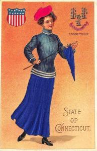 Langsdorf State of Connecticut Beautiful Multi Color Woman SILK  Seal Postcard