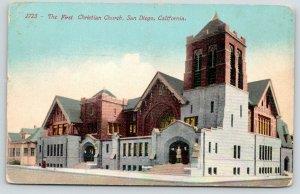 San Diego California~First Christian Church~Ladies in Doorway~Block~1912 PC