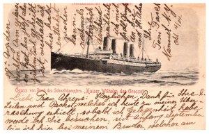 Germany   Kaiser Wilhelm der Grosse ,Gruss von Bord des Schnelldampfers