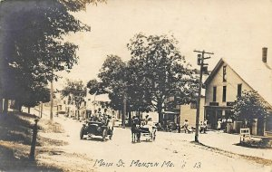 Monson ME Main Street Storefronts Old Cars Wagon 1910 Real Photo Postcard