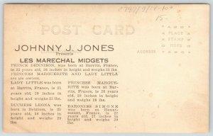 Jones Midget Theatre~Dennison~Lady Little~Baroness Simone~Leona~Bios~c1920 RPPC