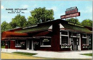 Wisconsin Dells WI Postcard BADGER RESTAURANT Hwy 16 Roadside KROPP Chrome 1950s