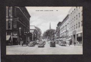 ME View Court St Street Drug Store Auburn Maine Postcard