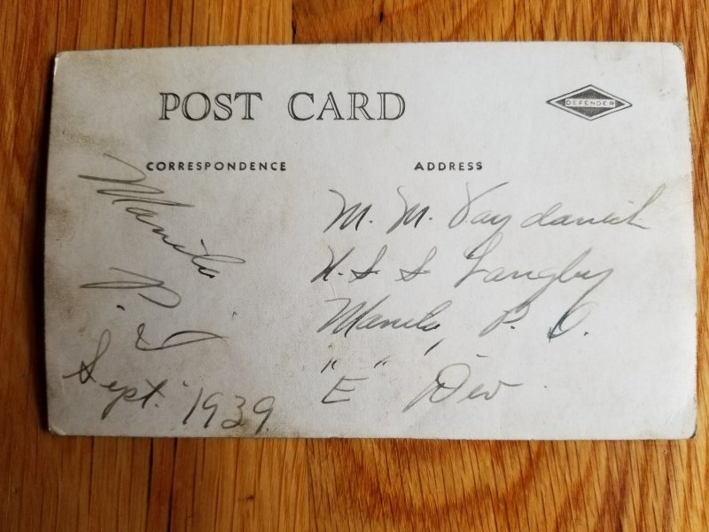 """Post Card """"Thoughts from over There"""" circa 1939"""