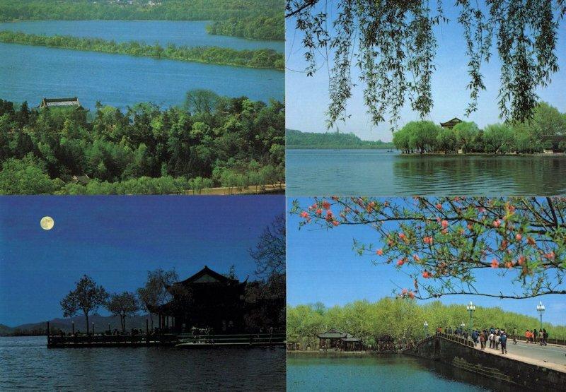 Hangzhou China Moonlight Lakes Tourist Guide Trip 4x River Postcard s