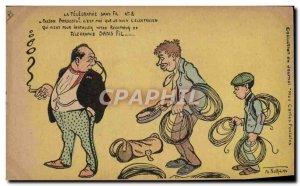 Postcard Old Man Smoking Cigar Illustrator Norwins