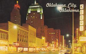 OKLAHOMA CITY , Oklahoma , 1950-60s ; Main Street at night