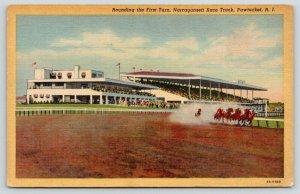 Pawtucket Rhode Island~Narragansett Race Track~Horses Round Turn~1936 Linen PC
