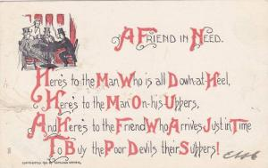 A Friend inNeed Poem, Three men wearing top hats around a table, woman serv...