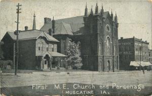VINTAGE POSTCARD FIRST METHODIST EPISCOPAL CHURCH & PARSONAGE MUSCATINE IOWA IA