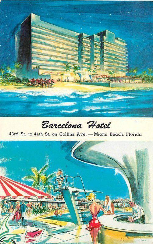Artist Impression Barcelona Hotel 1950s Miami Beach Florida Teich Postcard 4253