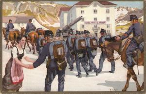 German soldiers. Cavalry Nice antique German postcard