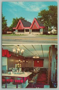 New Ulm Minnesota~Eberts Chalet~Restaurant~Interior~Lunch Counter~Ashtrays~1972
