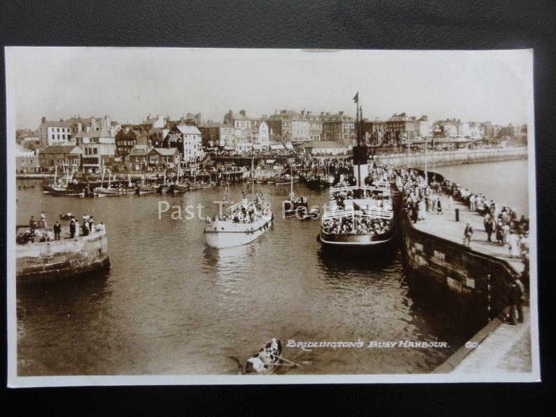Yorkshire BRIDLINGTON Busy Harbour & Ferry - Old RP Postcard by Bamforth