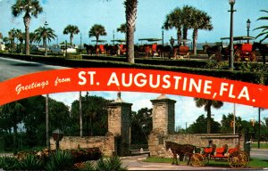 Florida St Augustine Greetings Showing Sightseeing Carriages and Old City Gat...