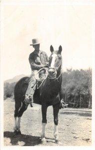 F82/ Occupational RPPC Postcard c1920 Cowboy Lasso Horse  1