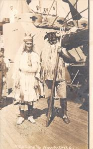 Philippines~PI~Navy Sailors~Neptune & Amphitrite~US Ship Deck~Explain~1909 RPPC