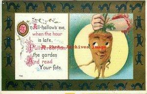Halloween, Robbins No 142a-3, Turnip Face & Full Moon, Black Cat Border