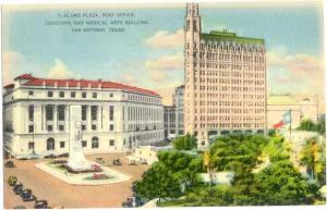 Linen of Alamo Plaza, Post Office, Medical Arts Building San