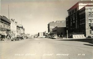 RPPC Postcard Main Street Globe AZ Gila County LL Cook J 36 c.1930-1950