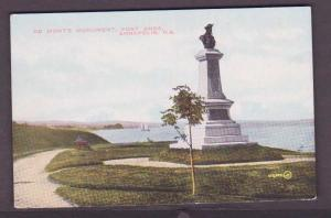 De Mont's Monument, Fort Anne Annapolis, Nova Scotia - Unused