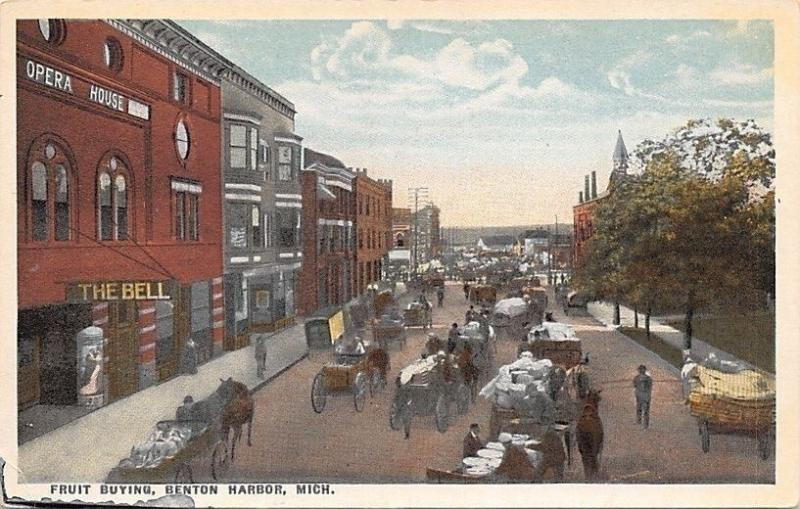 Benton Harbor Michigan~Opera House: The Bell~Fruit Buying~Farmers Market~1916 PC