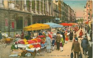 Nice, Le Marche aux Fleurs, 1930 used Postcard CPA