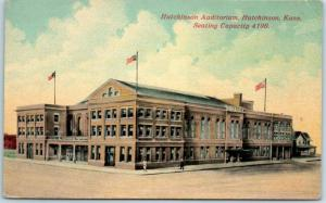 Hutchinson, Kansas Postcard HUTCHINSON AUDITORIUM Street View 1914 Cancel