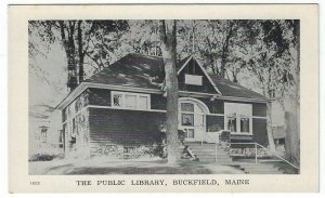Buckfield,  Maine, Vintage Postcard View of The Public Library