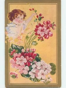 Pre-Linen art nouveau CUTE GIRL PICKING PINK FLOWERS HJ4318