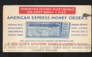 COLUMBUS NEBRASKA AMERICAN EXPRESS MONEY ORDER ADVERTISING INK BLOTTER