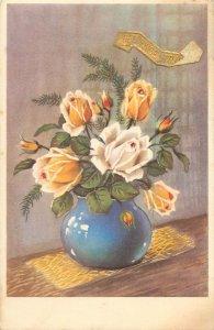 Postcard Greetings flowers vase