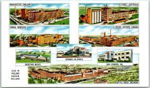 Vintage Advertising Postcard KELLOGG COMPANY PLANTS Multi-View 8 Factories
