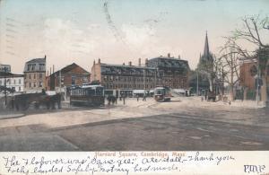 Harvard Square, Cambridge, Massachusetts, Early Postcard, Used in 1906