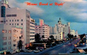 Florida Miami Beach Collins Avenue At Night