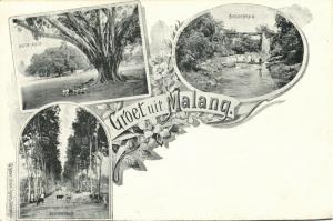 indonesia, JAVA MALANG, Aloon-Aloon, Station Road, Railway Bridge 1899 Postcard
