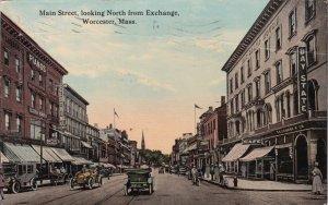 Massachusetts Worcester Main Street Looking North From Exchange 1913 sk2759