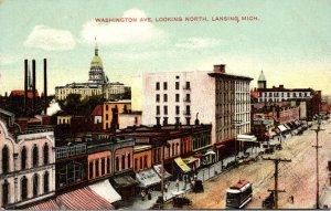 Michigan Lansing Trolley On Washington Avenue Looking North