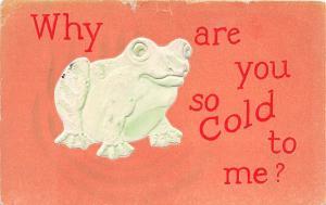 D91/ Frog Animal Postcard 1910 Wauseon Ohio Comic Cold to Me? Frog 6