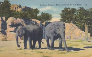 DETROIT, Michigan, 1930-1940's; Elephant House In Zoological Park