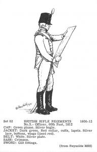 Set 62 British Rifle Regiments No. 3 - Officer, 60th Foot 1812