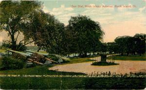 Postcard Sun Dial Rock Island Arsenal Illinois IL pm 1915